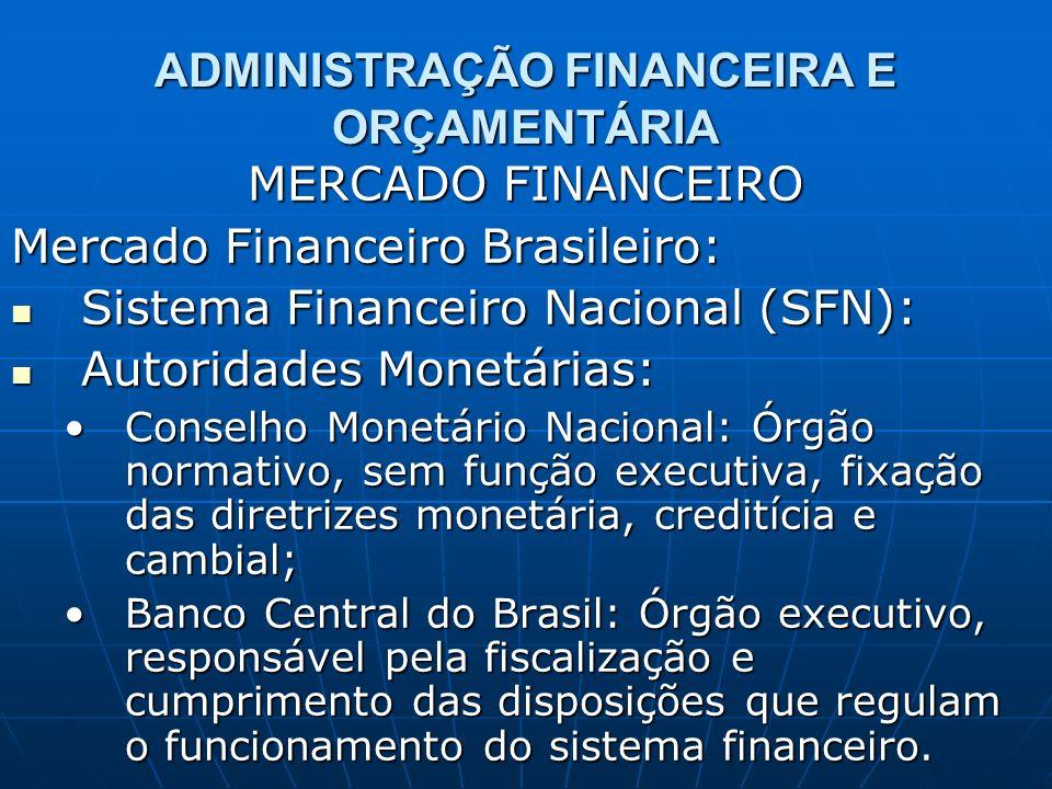 ADMINISTRAÇÃO FINANCEIRA E ORÇAMENTÁRIA MERCADO FINANCEIRO Mercado Financeiro Brasileiro: Sistema Financeiro Nacional (SFN): Sistema Financeiro Nacion