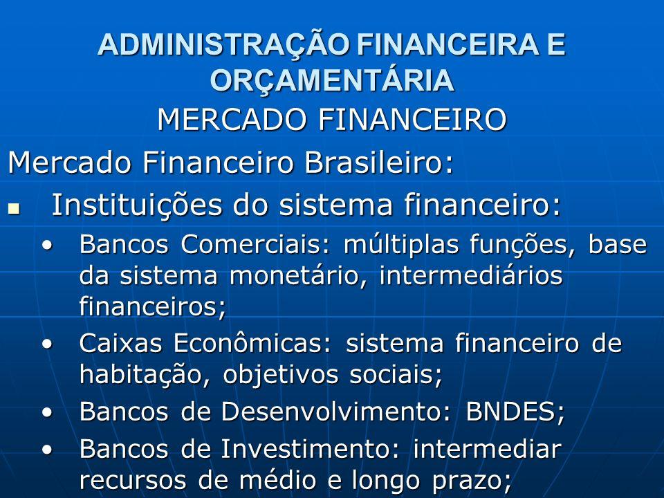 ADMINISTRAÇÃO FINANCEIRA E ORÇAMENTÁRIA MERCADO FINANCEIRO Mercado Financeiro Brasileiro: Instituições do sistema financeiro: Instituições do sistema