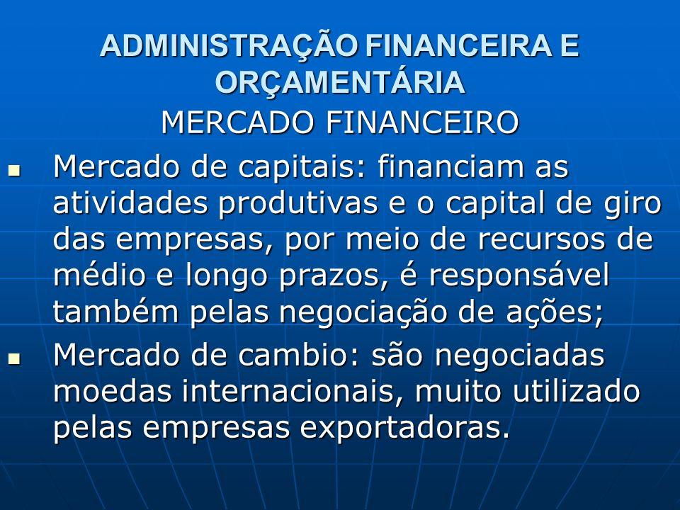 ADMINISTRAÇÃO FINANCEIRA E ORÇAMENTÁRIA MERCADO FINANCEIRO Mercado de capitais: financiam as atividades produtivas e o capital de giro das empresas, p