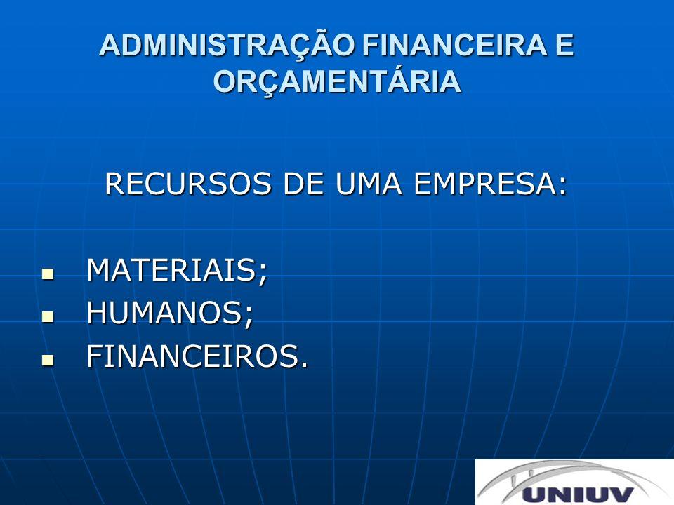 ADMINISTRAÇÃO FINANCEIRA E ORÇAMENTÁRIA RECURSOS DE UMA EMPRESA: MATERIAIS; MATERIAIS; HUMANOS; HUMANOS; FINANCEIROS. FINANCEIROS.