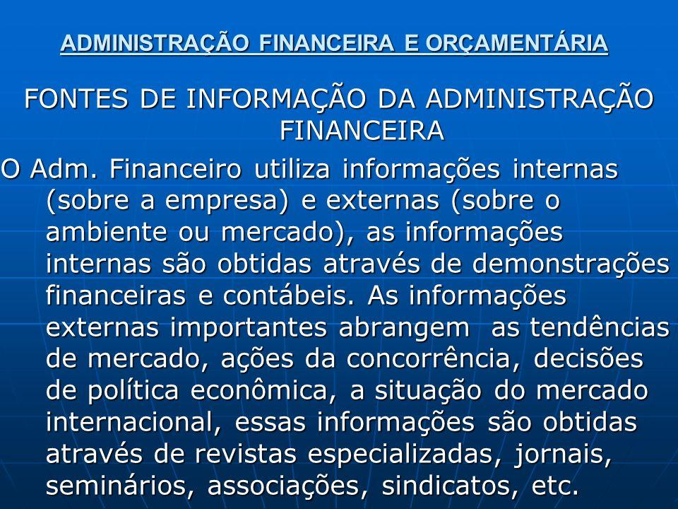ADMINISTRAÇÃO FINANCEIRA E ORÇAMENTÁRIA FONTES DE INFORMAÇÃO DA ADMINISTRAÇÃO FINANCEIRA O Adm. Financeiro utiliza informações internas (sobre a empre