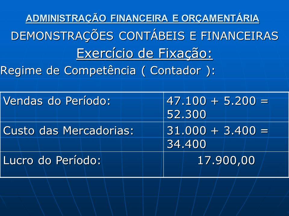 ADMINISTRAÇÃO FINANCEIRA E ORÇAMENTÁRIA DEMONSTRAÇÕES CONTÁBEIS E FINANCEIRAS Exercício de Fixação: Regime de Caixa ( Administrador ): Valores Recebidos: Pagamento pelas Mercadorias: Resultado de Caixa: