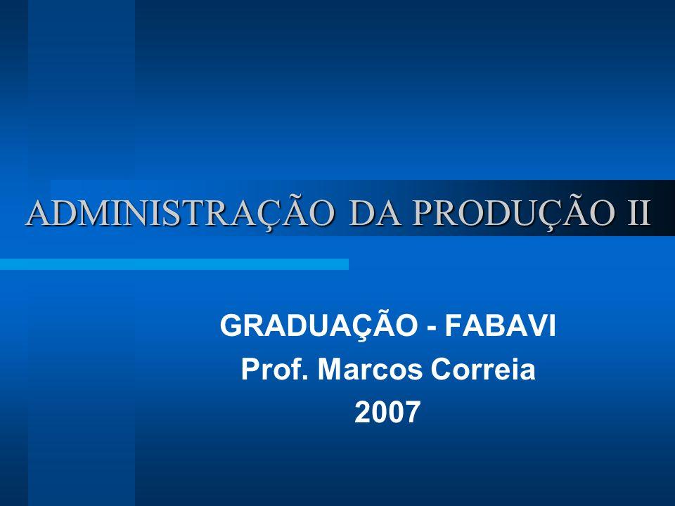 ADMINISTRAÇÃO DA PRODUÇÃO II GRADUAÇÃO - FABAVI Prof. Marcos Correia 2007