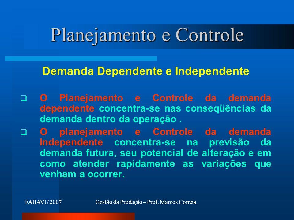 FABAVI / 2007Gestão da Produção – Prof. Marcos Correia Demanda Dependente e Independente O Planejamento e Controle da demanda dependente concentra-se