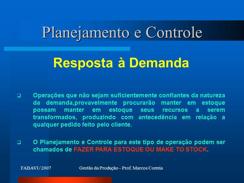 FABAVI / 2007Gestão da Produção – Prof. Marcos Correia Planejamento e Controle Resposta à Demanda Operações que não sejam suficientemente confiantes d