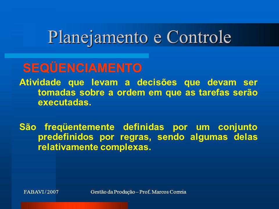 FABAVI / 2007Gestão da Produção – Prof. Marcos Correia SEQÜENCIAMENTO Atividade que levam a decisões que devam ser tomadas sobre a ordem em que as tar