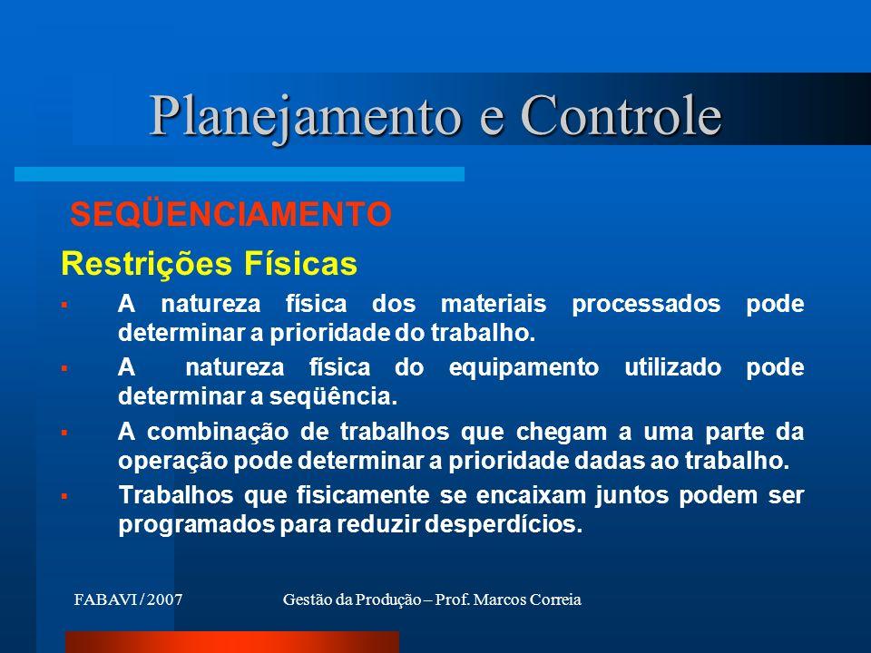 FABAVI / 2007Gestão da Produção – Prof. Marcos Correia SEQÜENCIAMENTO Restrições Físicas A natureza física dos materiais processados pode determinar a