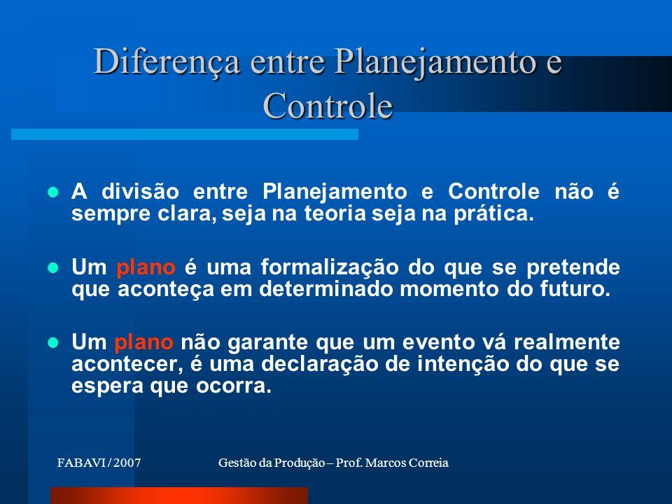 FABAVI / 2007Gestão da Produção – Prof. Marcos Correia Diferença entre Planejamento e Controle A divisão entre Planejamento e Controle não é sempre cl