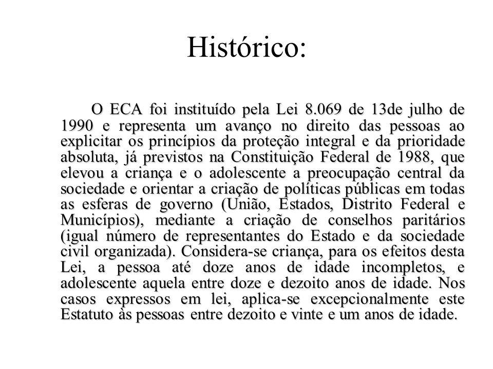 Estatuto da Criança e Adolescente – (ECA) Conceito: é um conjunto de normas do ordenamento jurídico brasileiro que tem o objetivo de proteger a integr