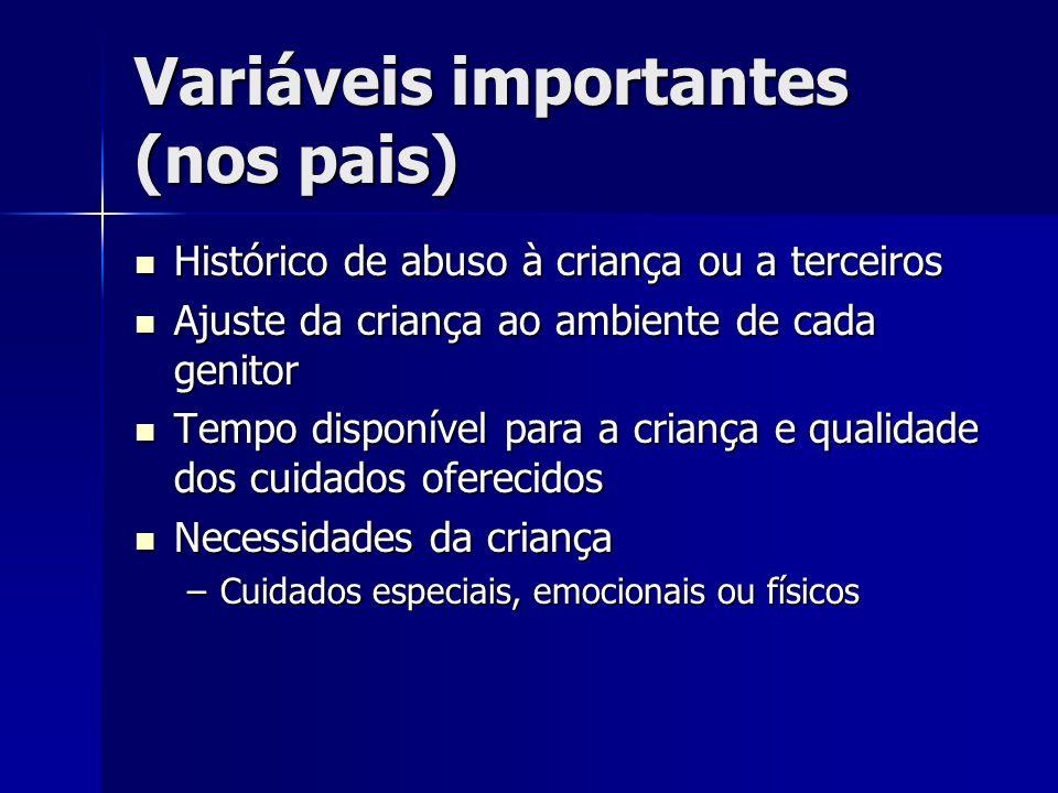 Variáveis importantes (nos pais) Histórico de abuso à criança ou a terceiros Histórico de abuso à criança ou a terceiros Ajuste da criança ao ambiente