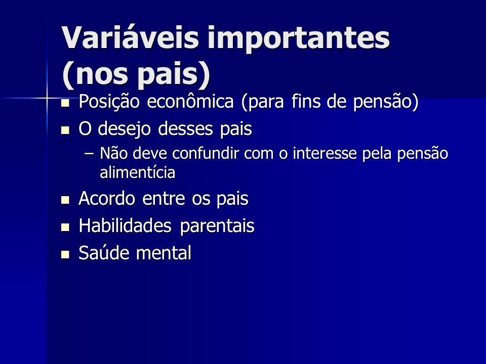 Variáveis importantes (nos pais) Posição econômica (para fins de pensão) Posição econômica (para fins de pensão) O desejo desses pais O desejo desses
