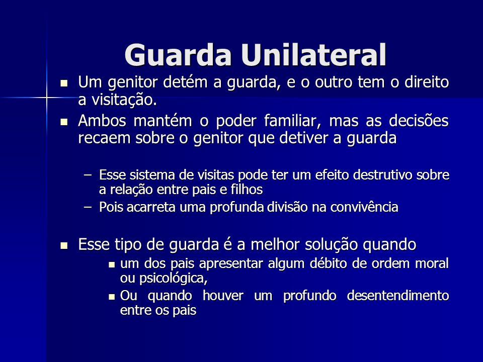 Guarda Unilateral Um genitor detém a guarda, e o outro tem o direito a visitação. Um genitor detém a guarda, e o outro tem o direito a visitação. Ambo
