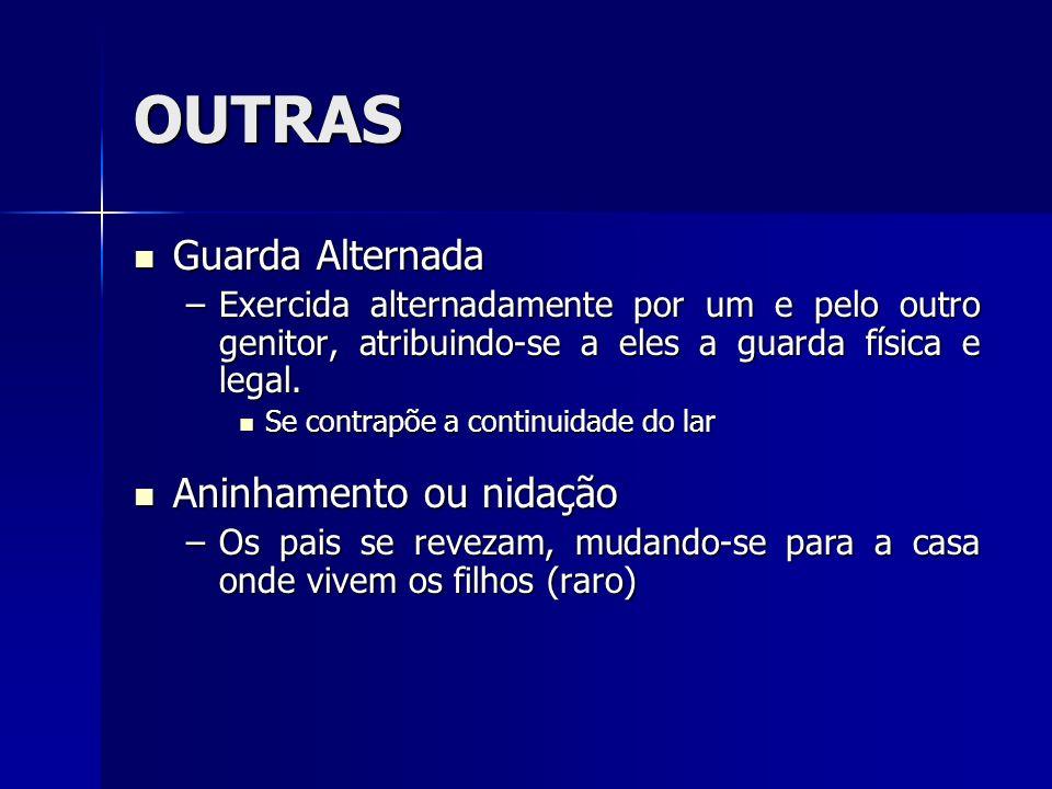 OUTRAS Guarda Alternada Guarda Alternada –Exercida alternadamente por um e pelo outro genitor, atribuindo-se a eles a guarda física e legal. Se contra