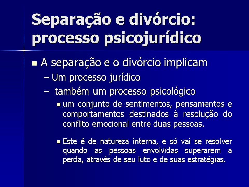 Separação e divórcio: processo psicojurídico A separação e o divórcio implicam A separação e o divórcio implicam –Um processo jurídico – também um pro