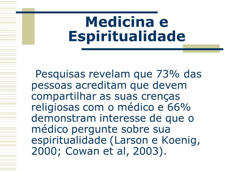 Medicina e Espiritualidade Aspectos como perdão, experiências espirituais diárias, suporte religioso e autopercepção de religiosidade predisseram significativamente o estado de saúde mental dos pacientes (Rippentrop et al., 2005).