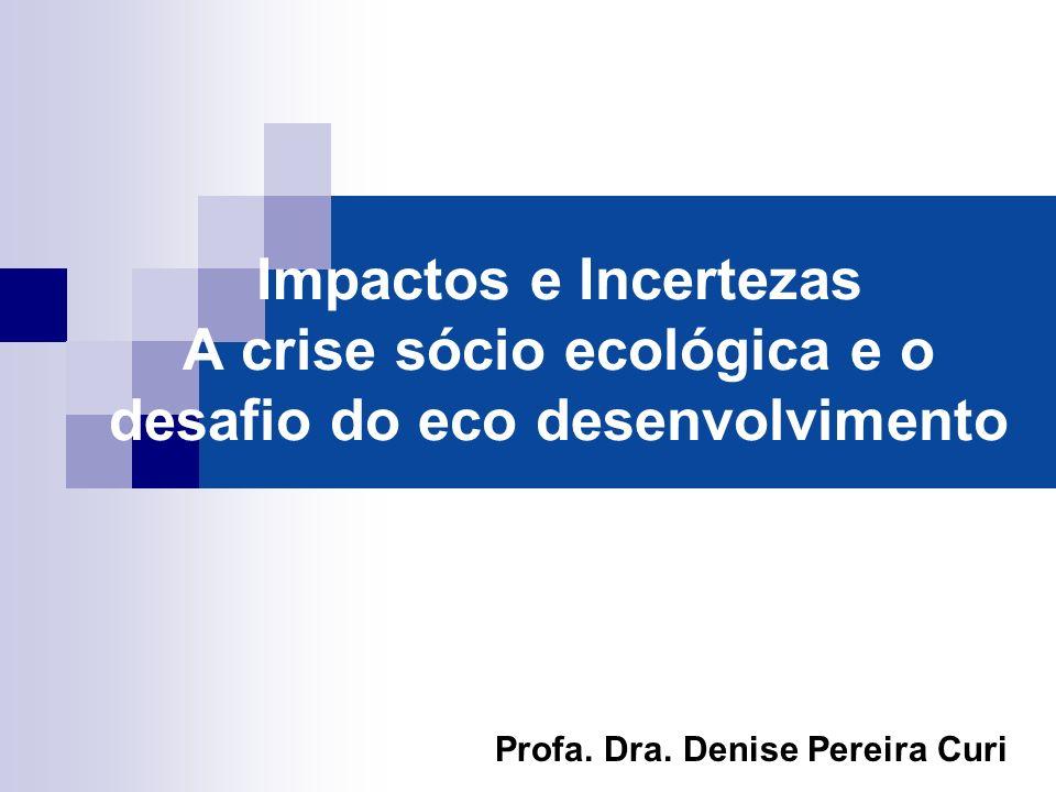Impactos e Incertezas A crise sócio ecológica e o desafio do eco desenvolvimento Profa. Dra. Denise Pereira Curi