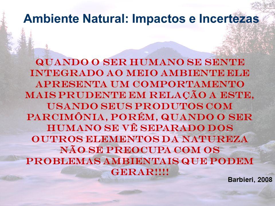 13 Ambiente Natural: Impactos e Incertezas Quando o ser humano se sente integrado ao meio ambiente ele apresenta um comportamento mais prudente em rel