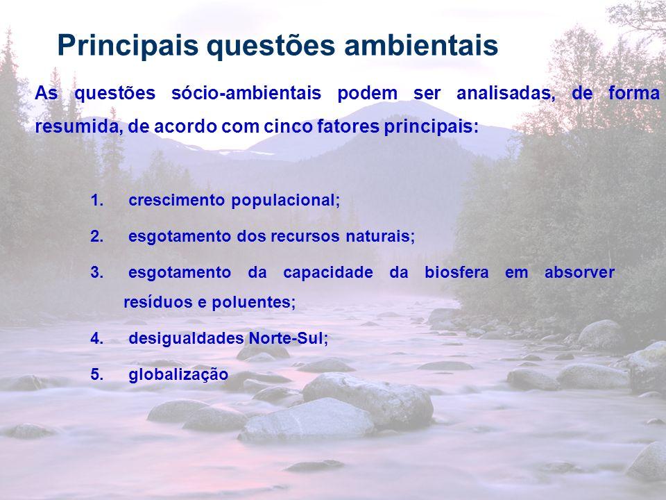 16 Principais questões ambientais As questões sócio-ambientais podem ser analisadas, de forma resumida, de acordo com cinco fatores principais: 1. cre