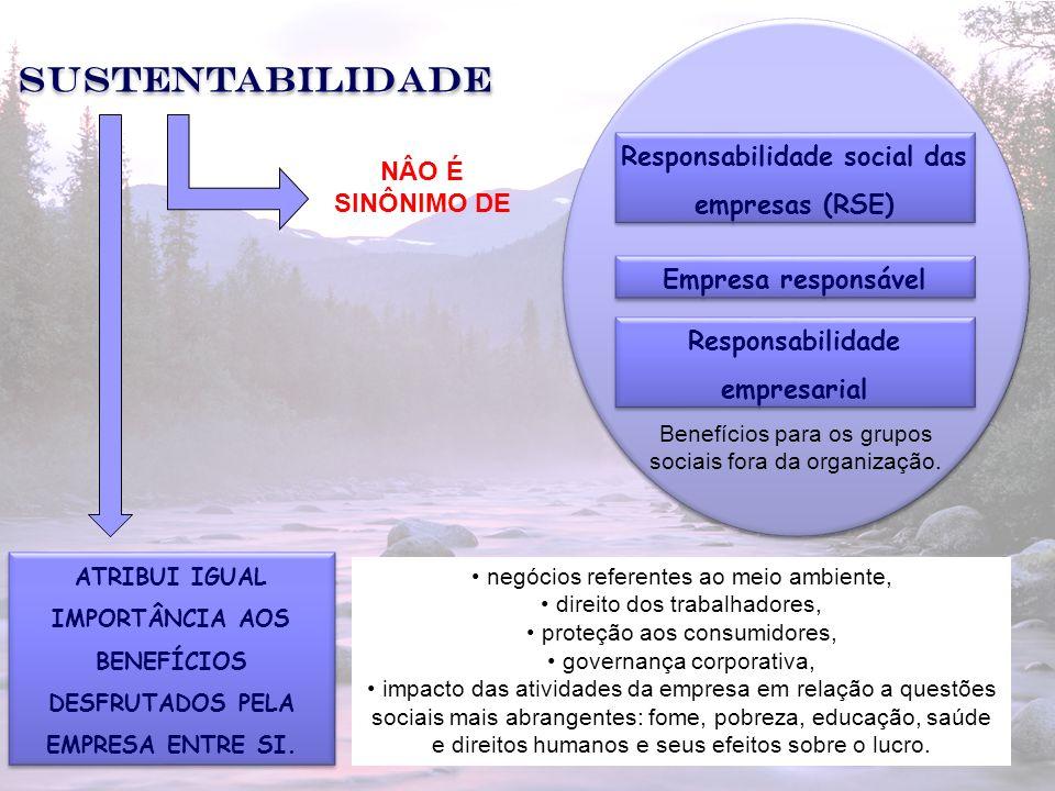 2 Sustentabilidade Responsabilidade social das empresas (RSE) NÂO É SINÔNIMO DE Empresa responsável Responsabilidade empresarial ATRIBUI IGUAL IMPORTÂ