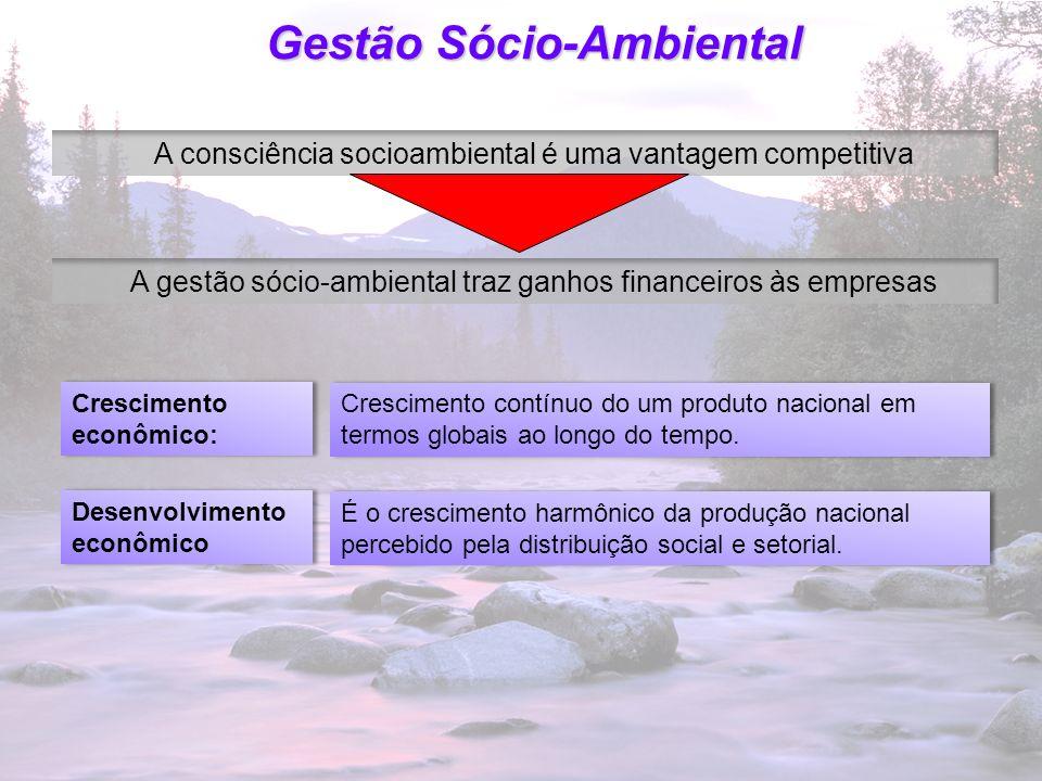 22 Gestão Sócio-Ambiental A consciência socioambiental é uma vantagem competitiva A gestão sócio-ambiental traz ganhos financeiros às empresas Crescim