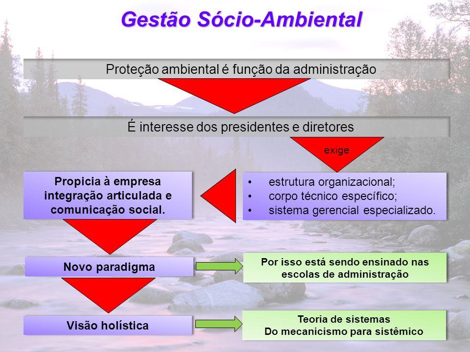23 Gestão Sócio-Ambiental Proteção ambiental é função da administração É interesse dos presidentes e diretores Propicia à empresa integração articulad