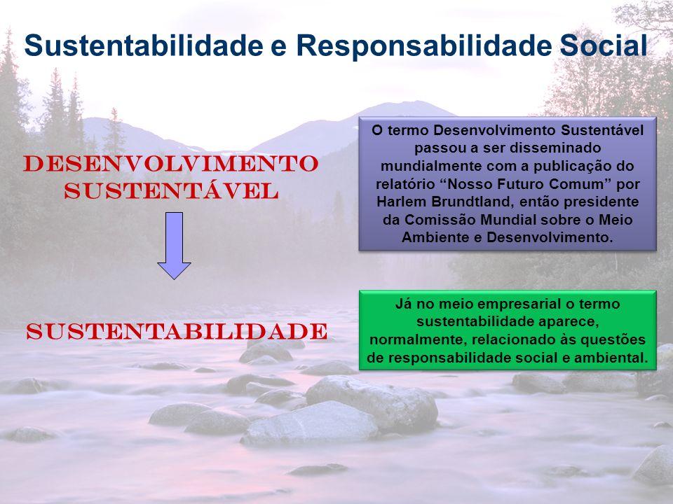 3 Sustentabilidade e Responsabilidade Social Sustentabilidade Desenvolvimento sustentável O termo Desenvolvimento Sustentável passou a ser disseminado