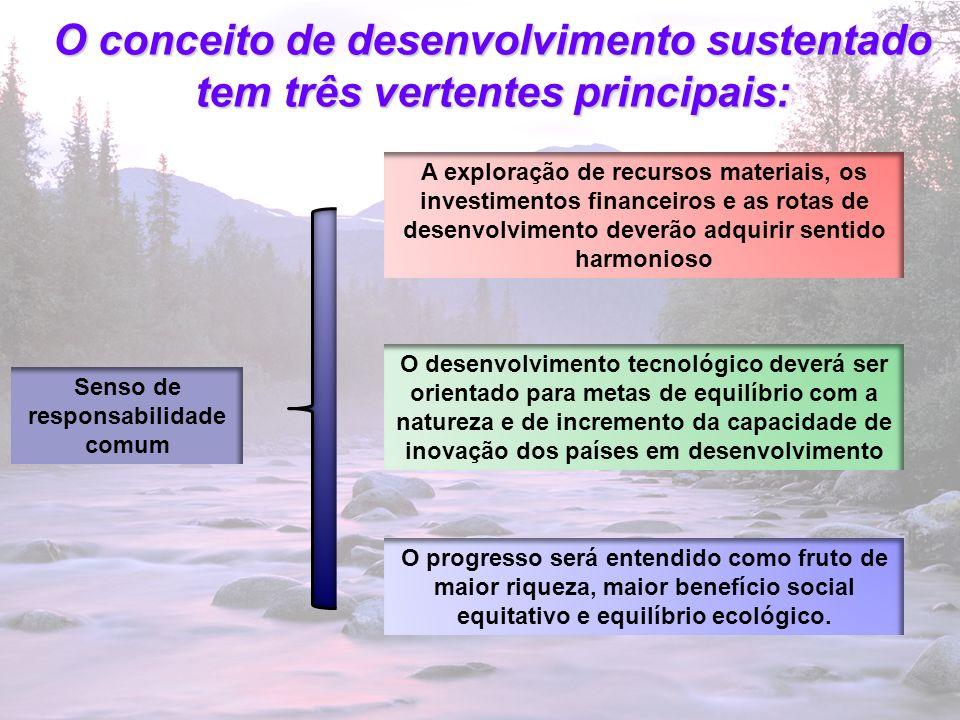 8 O conceito de desenvolvimento sustentado tem três vertentes principais: Senso de responsabilidade comum A exploração de recursos materiais, os inves