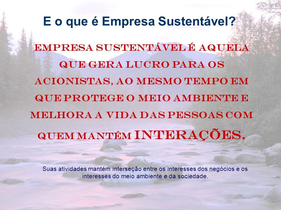 9 Empresa sustentável é aquela que gera lucro para os acionistas, ao mesmo tempo em que protege o meio ambiente e melhora a vida das pessoas com quem