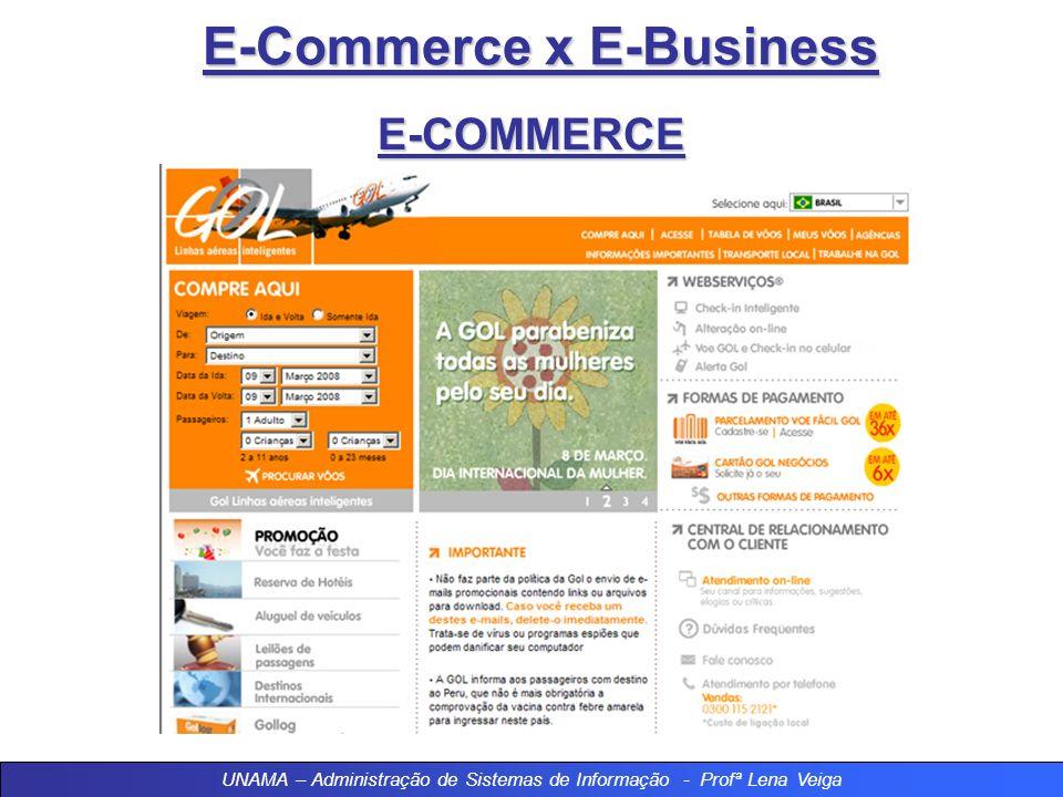 E-Commerce x E-Business E-COMMERCE A Gol Linhas Aéreas Inteligentes terminou 2006 entre as maiores empresas de e-commerce do Brasil. A Companhia comer