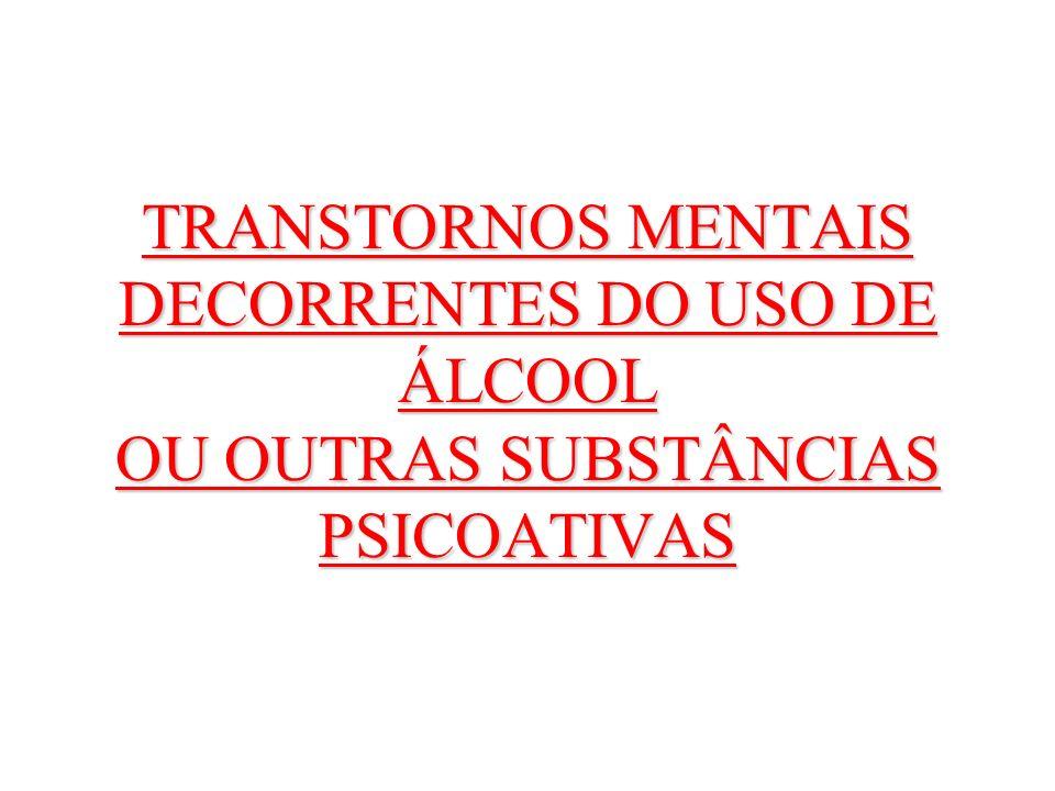TRANSTORNOS MENTAIS DECORRENTES DO USO DE ÁLCOOL OU OUTRAS SUBSTÂNCIAS PSICOATIVAS