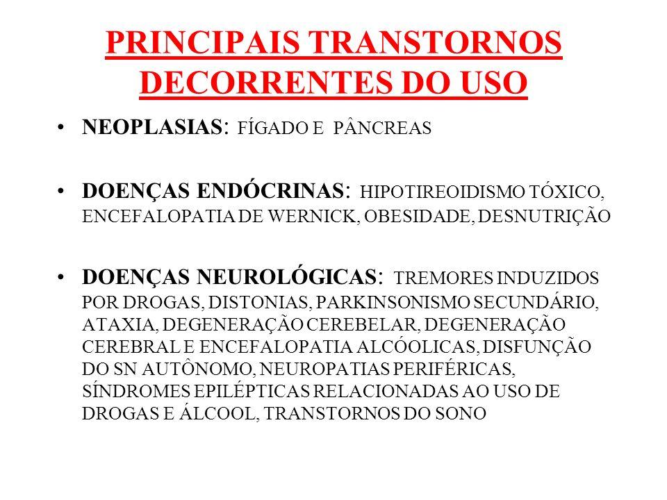 PRINCIPAIS TRANSTORNOS DECORRENTES DO USO NEOPLASIAS : FÍGADO E PÂNCREAS DOENÇAS ENDÓCRINAS : HIPOTIREOIDISMO TÓXICO, ENCEFALOPATIA DE WERNICK, OBESID
