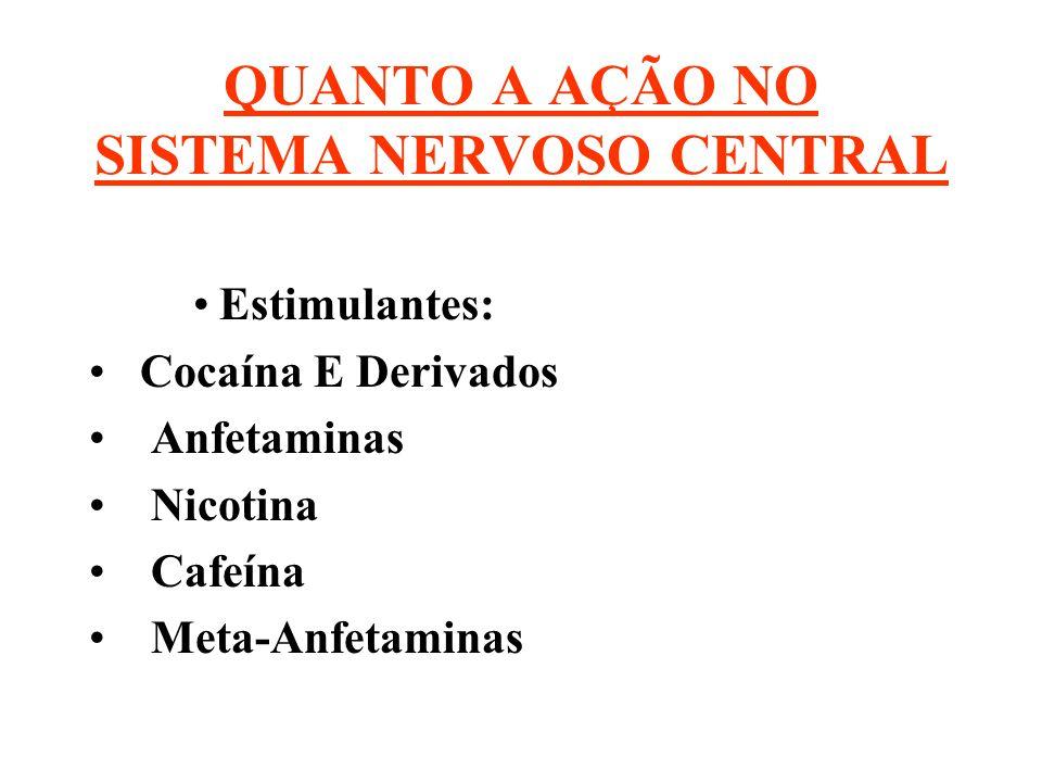 QUANTO A AÇÃO NO SISTEMA NERVOSO CENTRAL Estimulantes: Cocaína E Derivados Anfetaminas Nicotina Cafeína Meta-Anfetaminas