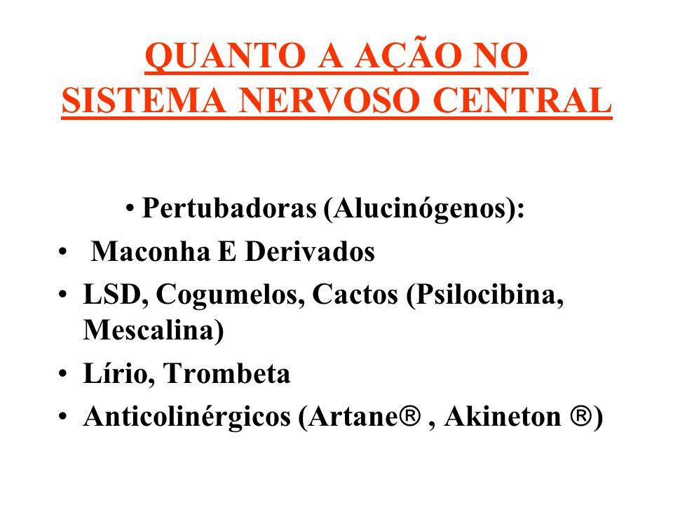 QUANTO A AÇÃO NO SISTEMA NERVOSO CENTRAL Pertubadoras (Alucinógenos): Maconha E Derivados LSD, Cogumelos, Cactos (Psilocibina, Mescalina) Lírio, Tromb