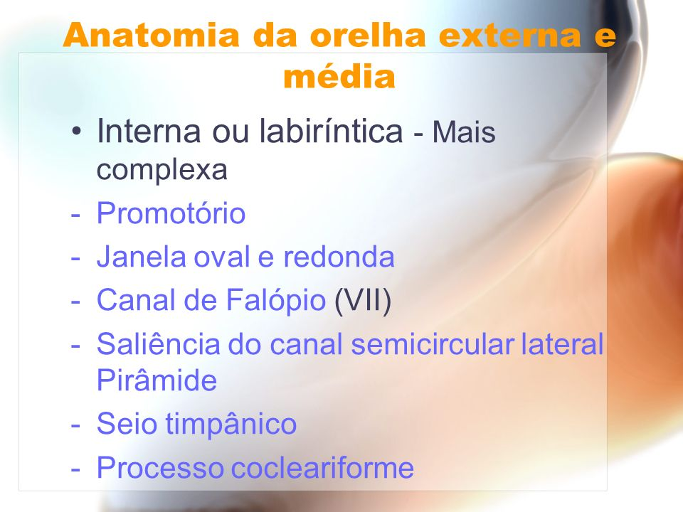 Interna ou labiríntica - Mais complexa -Promotório -Janela oval e redonda -Canal de Falópio (VII) -Saliência do canal semicircular lateral Pirâmide -S