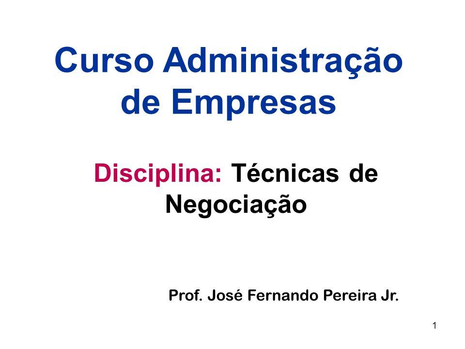 1 Disciplina: Técnicas de Negociação Curso Administração de Empresas Prof. José Fernando Pereira Jr.