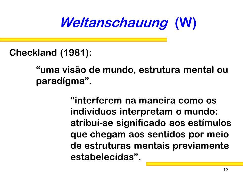 13 Checkland (1981): Weltanschauung (W) uma visão de mundo, estrutura mental ou paradígma. interferem na maneira como os indivíduos interpretam o mund