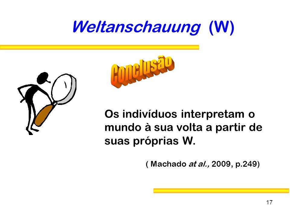 17 Weltanschauung (W) Os indivíduos interpretam o mundo à sua volta a partir de suas próprias W. ( Machado at al., 2009, p.249)
