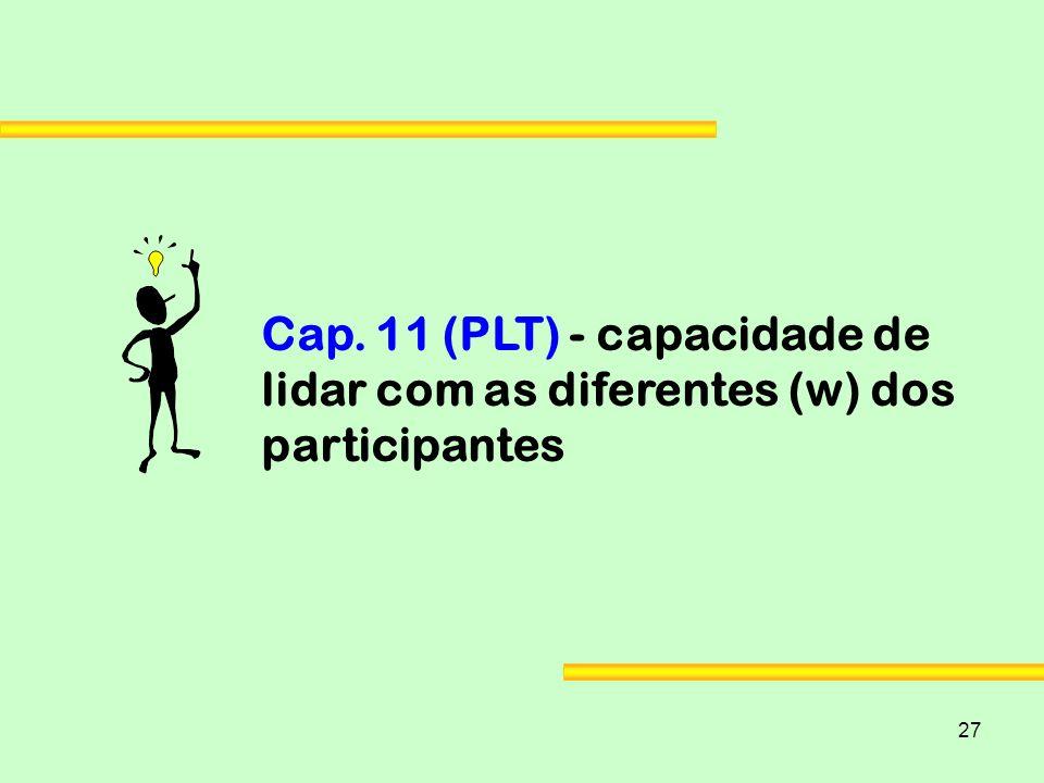 27 Cap. 11 (PLT) - capacidade de lidar com as diferentes (w) dos participantes