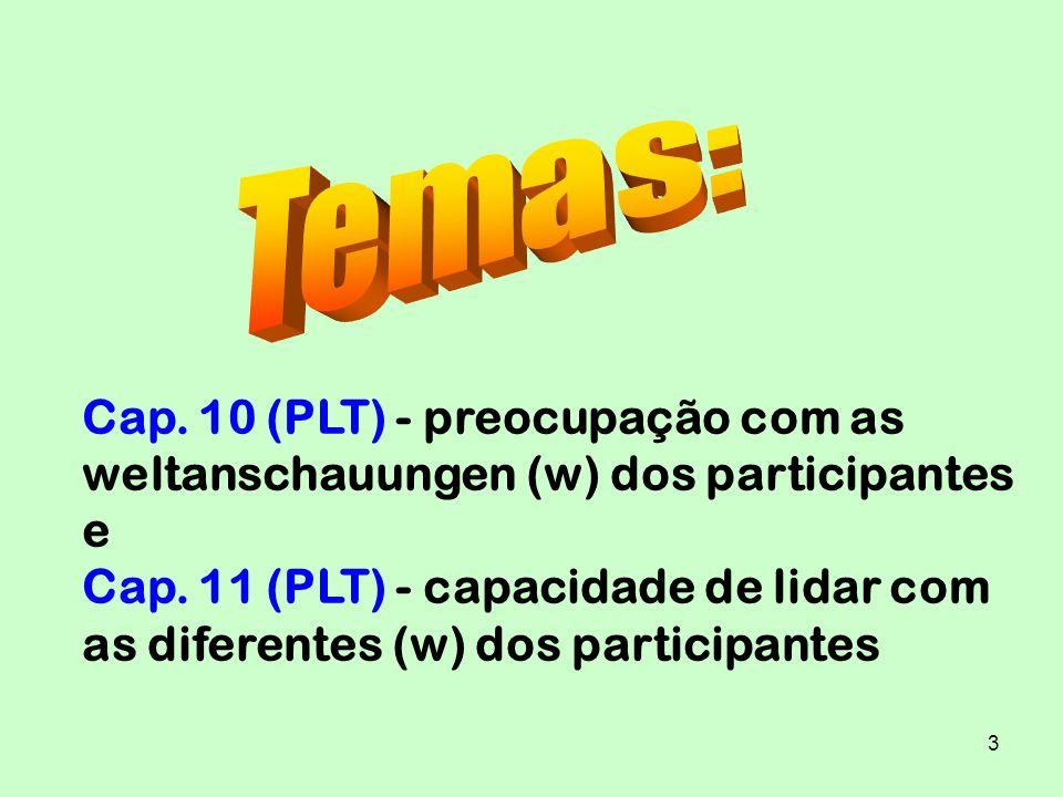 3 Cap. 10 (PLT) - preocupação com as weltanschauungen (w) dos participantes e Cap. 11 (PLT) - capacidade de lidar com as diferentes (w) dos participan