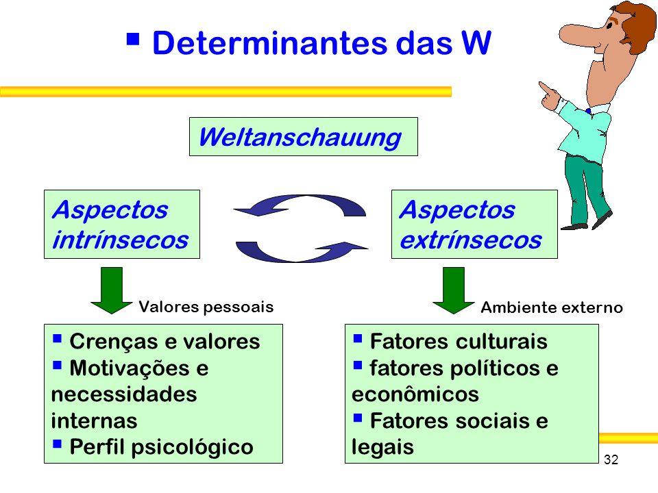 32 Determinantes das W Weltanschauung Aspectos intrínsecos Aspectos extrínsecos Crenças e valores Motivações e necessidades internas Perfil psicológic