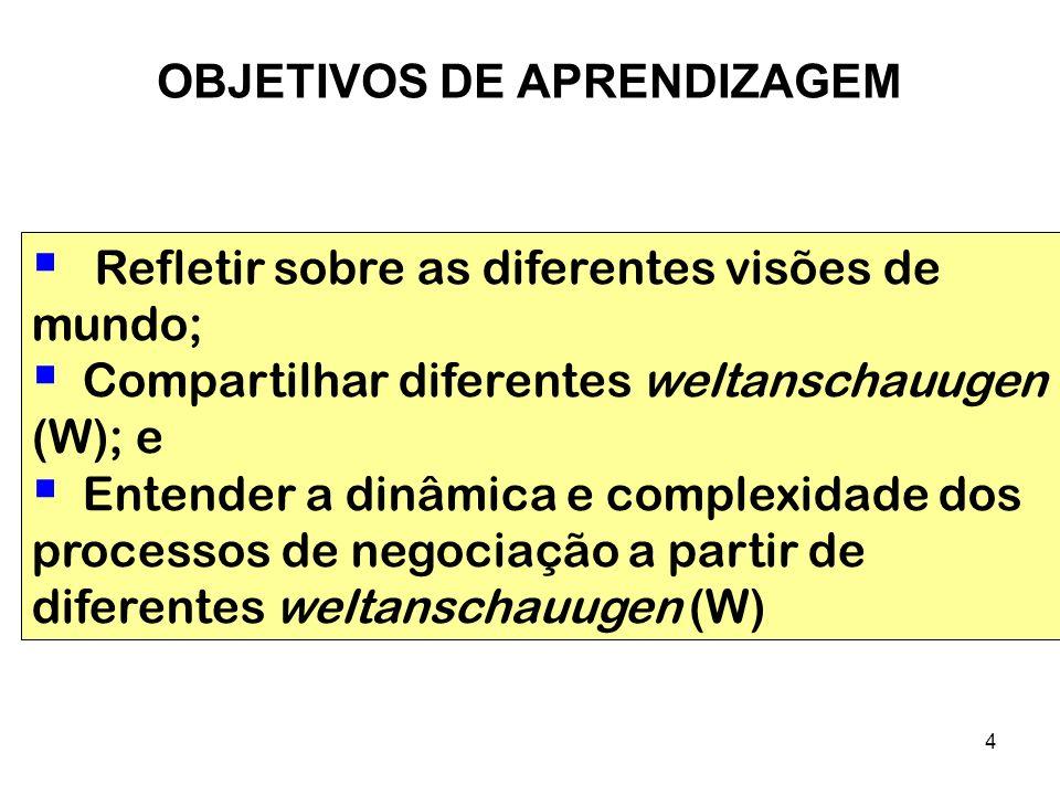 4 Refletir sobre as diferentes visões de mundo; Compartilhar diferentes weltanschauugen (W); e Entender a dinâmica e complexidade dos processos de neg