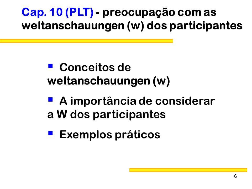 6 Conceitos de weltanschauungen (w) A importância de considerar a W dos participantes Exemplos práticos