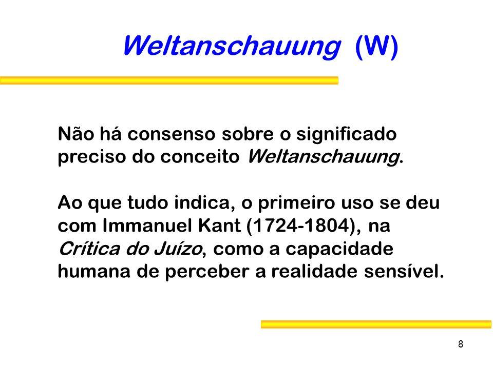 8 Não há consenso sobre o significado preciso do conceito Weltanschauung. Ao que tudo indica, o primeiro uso se deu com Immanuel Kant (1724-1804), na