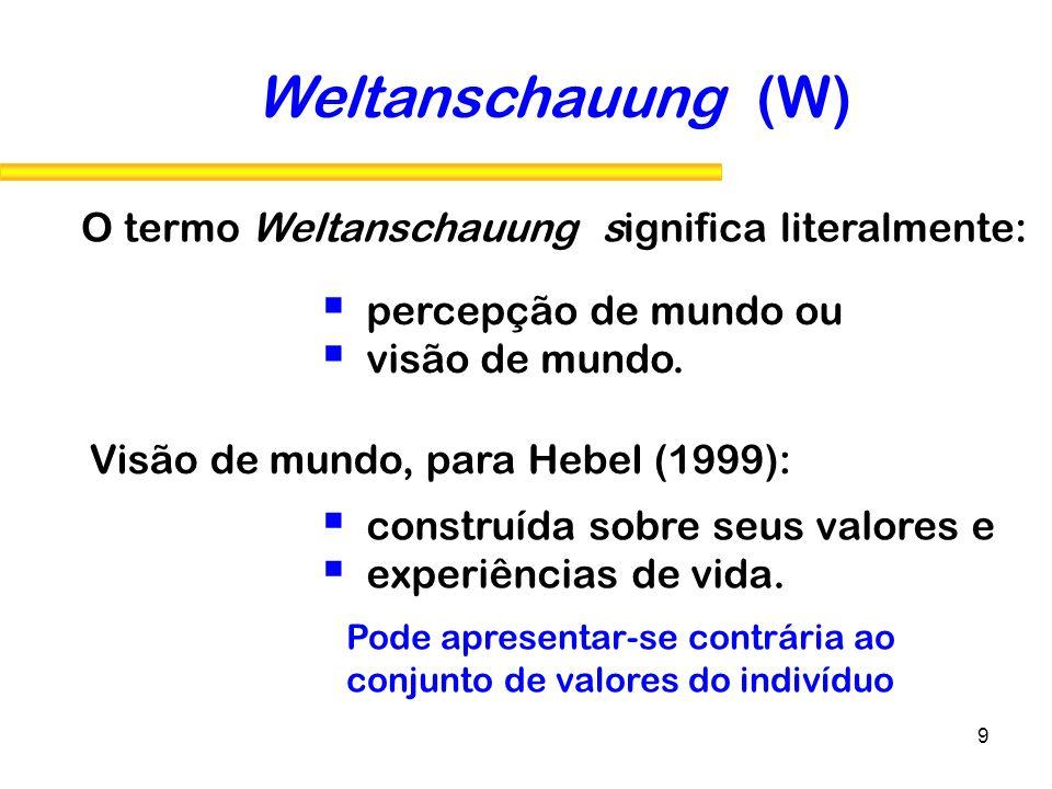 9 Visão de mundo, para Hebel (1999): Weltanschauung (W) O termo Weltanschauung significa literalmente: percepção de mundo ou visão de mundo. construíd