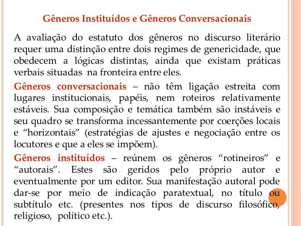 Gêneros Instituídos e Gêneros Conversacionais A avaliação do estatuto dos gêneros no discurso literário requer uma distinção entre dois regimes de gen