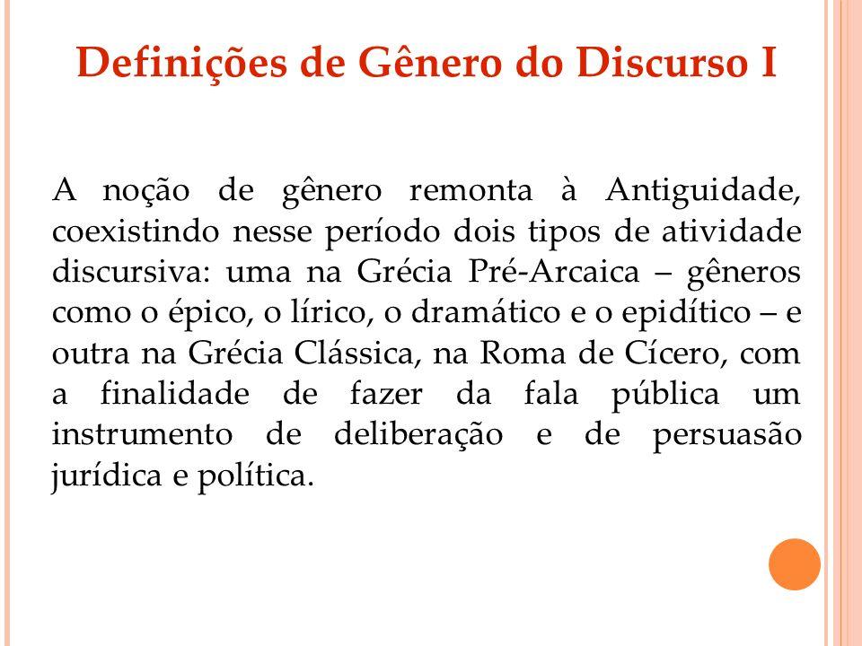 Definições de Gênero do Discurso I A noção de gênero remonta à Antiguidade, coexistindo nesse período dois tipos de atividade discursiva: uma na Gréci