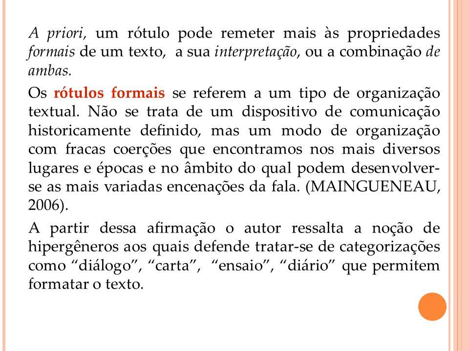 A priori, um rótulo pode remeter mais às propriedades formais de um texto, a sua interpretação, ou a combinação de ambas. Os rótulos formais se refere