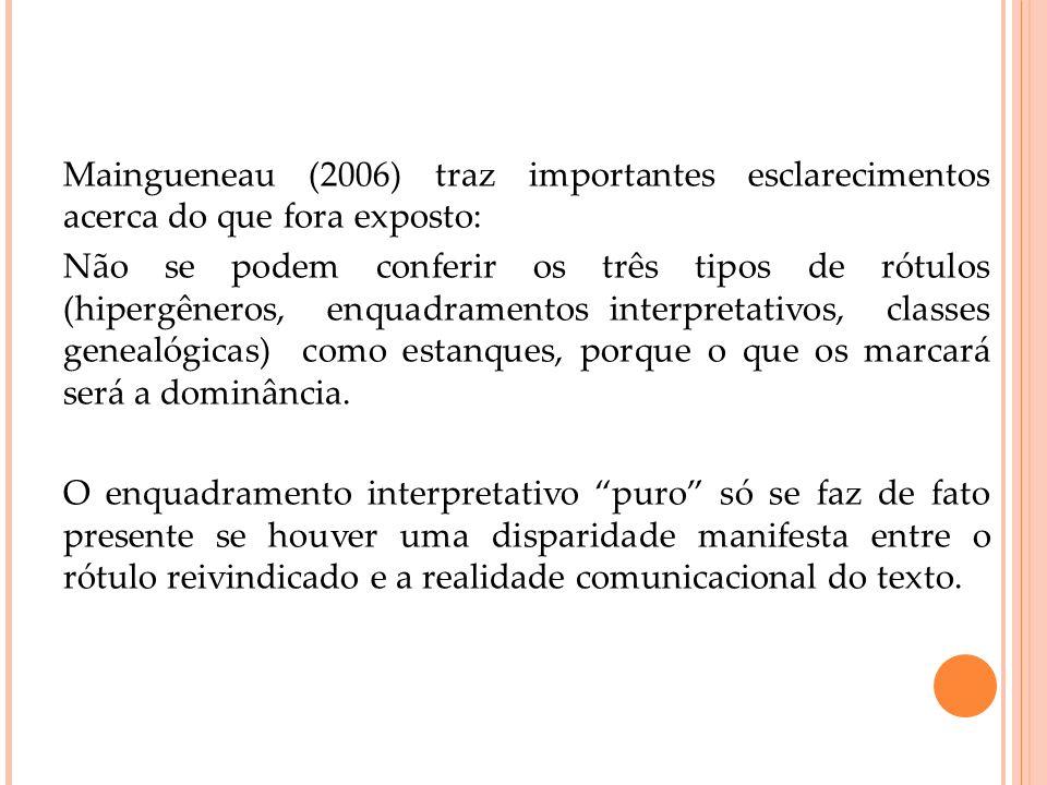 Maingueneau (2006) traz importantes esclarecimentos acerca do que fora exposto: Não se podem conferir os três tipos de rótulos (hipergêneros, enquadra