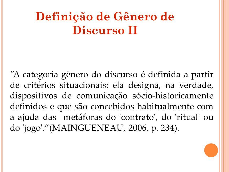 Definição de Gênero de Discurso II A categoria gênero do discurso é definida a partir de critérios situacionais; ela designa, na verdade, dispositivos