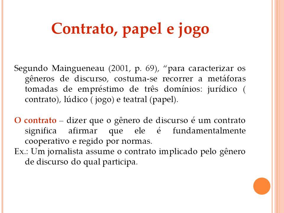 Contrato, papel e jogo Segundo Maingueneau (2001, p. 69), para caracterizar os gêneros de discurso, costuma-se recorrer a metáforas tomadas de emprést